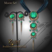 Moon Set - Boulder Green OpalGold