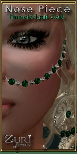 Sweet Misty Nose Piece-Emerald-Light Gold