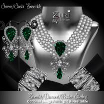 Zuri Rayna-Serene_Sashi Dangle Ensemble - Emerald_Dia_PewterPIC