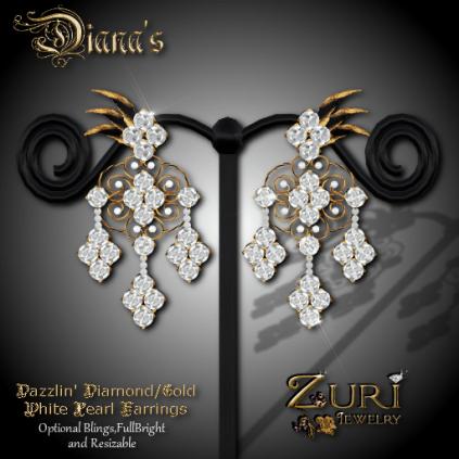 Zuri Rayna~Diana Dazzle Filigree_White Pearl Earrings