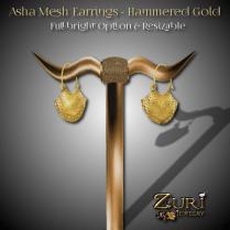 Asha Mesh Earrings - Hammered Gold