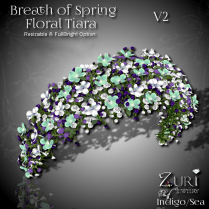 Breath of Spring Floral Tiara Wide - Indigo Sea