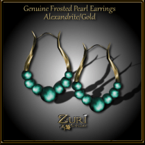 Genuine Frosted Pearl Earrings - Alexandrite_Gold