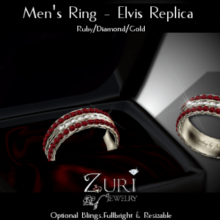 Men's Ring - Elvis Rep- Ruby_Dia_Gold