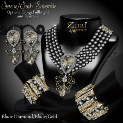 Serene Sashi Dangle - Black Diamond_Blk_Gold