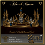 Zuri Rayna-Asherah Crown- Sapphire_Black Diamond_Gold CopyPIC