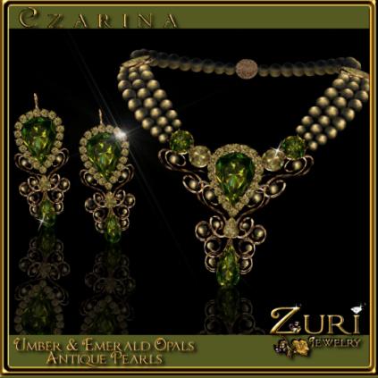 Czarina Umber-Emerald Opal-Antique Pearls