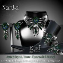 Nahla Set - Amethyst Lime-Emerald-Steel