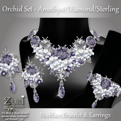 Orchid Set - Amethyst_Diamond_Sterling