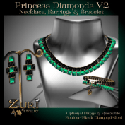 Princess Diamonds V2 - Boulder-Black Diamond-Gold