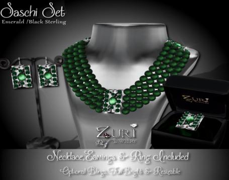 Sashi Set - Emerald-Black Sterling