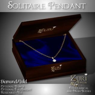 Solitaire Pendant - Diamond_Gold