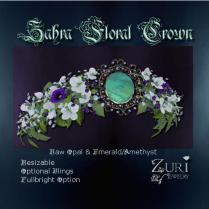 Zahra Floral Crown-Raw Opal-Emerald-Amethyst