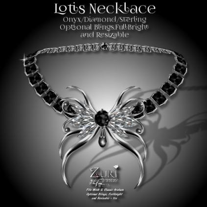 Lotis Necklace - Onyx_Dia_Sterling