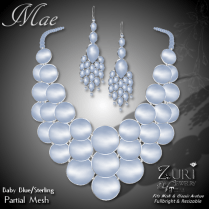 Mae Set - Necklace & Earring - Baby Blue_Sterling