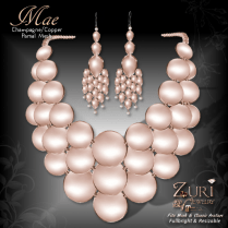 Mae Set - Necklace & Earrings - Champagne_Copper