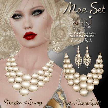 Mae Set - Necklace & Earrings - Mocha Creme_Gold