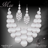 Mae Set - Necklace & Earrings - White_Pink_Frost