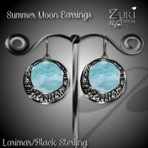 Summer Moon Earrings - Larimar_Black Sterling
