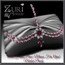 Zuri Rayna~Ariel Head Piece-Mauve Fire Opal_Merlot PearlsPIC