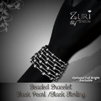 Beaded Bracelet - Black_Black Sterling