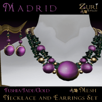 Madrid Jewelry Set-Fushia_Jade_Gold