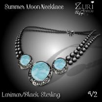 Summer Moon Necklace V2 - Larimar_Black Sterling