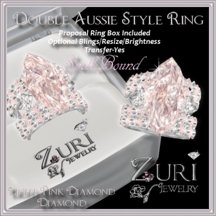 Zuri Rayna~Double Aussie Style Ring~Pink Diamond_Dia_PlatPIC