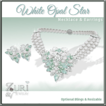 Zuri Rayna~White Opal Star Necklace & Earrings SetPIC