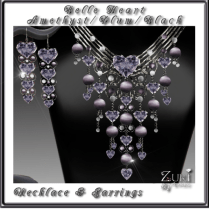 Belle Hearts Set- Amethyst_Plum_Black