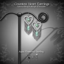 Countess Heart Earrings - Aqua_Diamond_Sterling