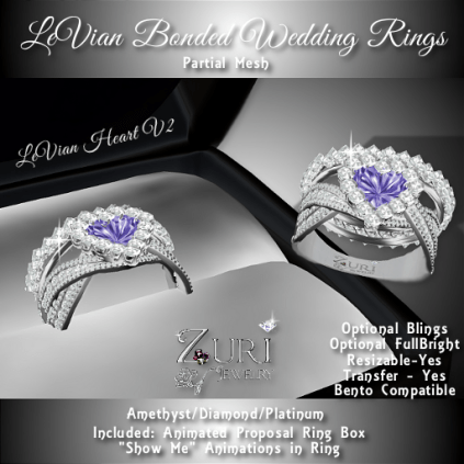 LeVian Bonded Wedding Rings Set -Amethyst_Diamond_Platinum