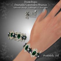 Snowdrops Bracelets Set - Emerald_Lavender_Bronze