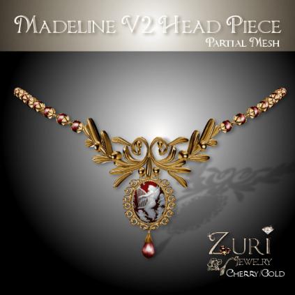Zuri Rayna-Madeline V2 Head Piece -Cherry Cameo_GoldPIC