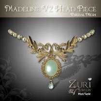 Zuri Rayna~Madeline V2 Headpiece - Mint-GoldPIC