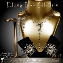 50% Countdown Sale - Falling Snow - Peridot_Bronze