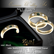 Evermore Rings Set - Emerald-Diamond-Gold