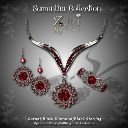 Samantha Collection - Garnet-Black Diamond
