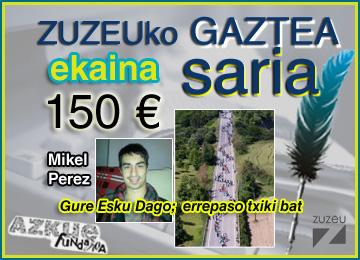Mikel Perezek irabazi du ekaineko ZuZeu Gaztea Saria