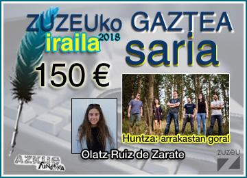 Olatz Ruiz de Zaratek irabazi du iraileko Zuzeu GAZTEA Saria