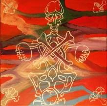 """16"""" x 16"""" Acrylic on Canvas Painting - Grateful Dead AoxomoxoA"""