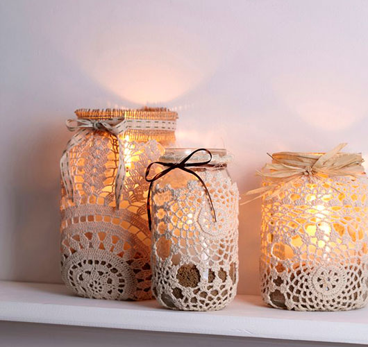 The photo shows - DIY Christmas decorations, fig. Lantern with lace candle 1