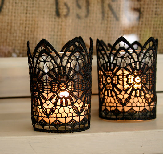 The photo shows - DIY Christmas decorations, fig. Lantern with lace candle 2