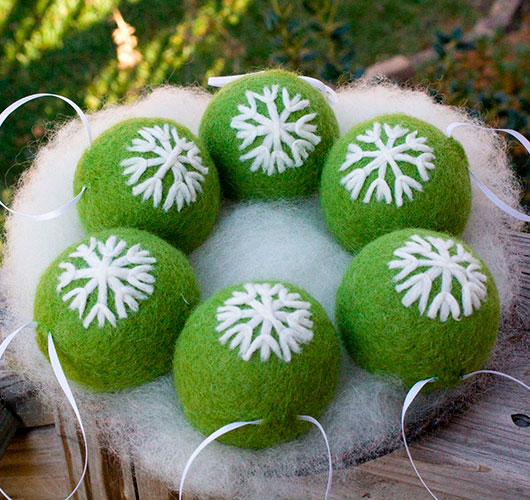 The photo shows - DIY Christmas decorations, fig. Wool balls 2