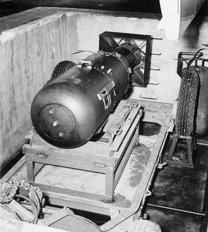 "At 8:15 am, local time, the bomb bay doors opened and the atomic bomb named ""Little Boy"" made its descent. The bomb traveled 44 seconds and then detonated at an elevation of 1,900 feet."
