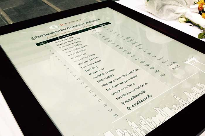 A list of those killed in the Bangkok blast on display near the bomb site