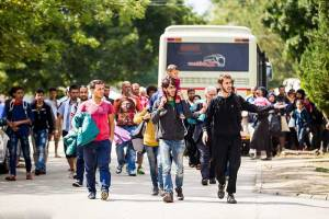 Dozens-of-migrants-march-to-the-gates-after-being-dropped-off-by-bus-before-jumping-out-from-inside-a-refugee-camp-in-Bicske,-Hungary