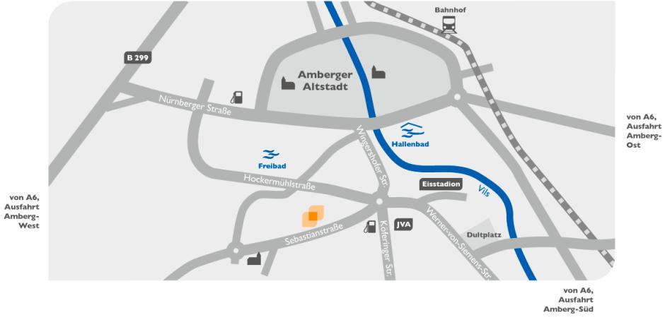 Anfahrt zu zweckdesign in Amberg