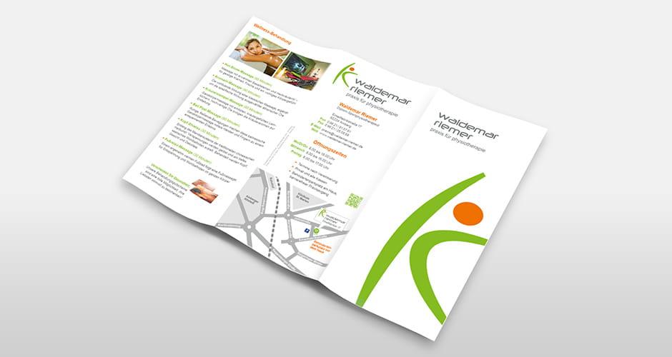 Folder Layout für Physiotherapie Riemer aus Amberg