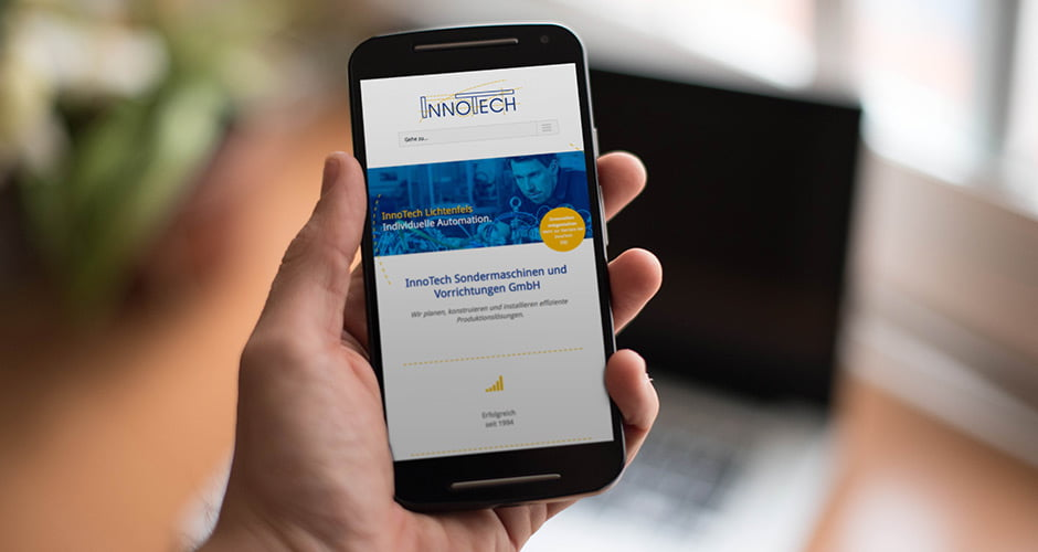 Beispiel für responsives Webdesign am Smartphone